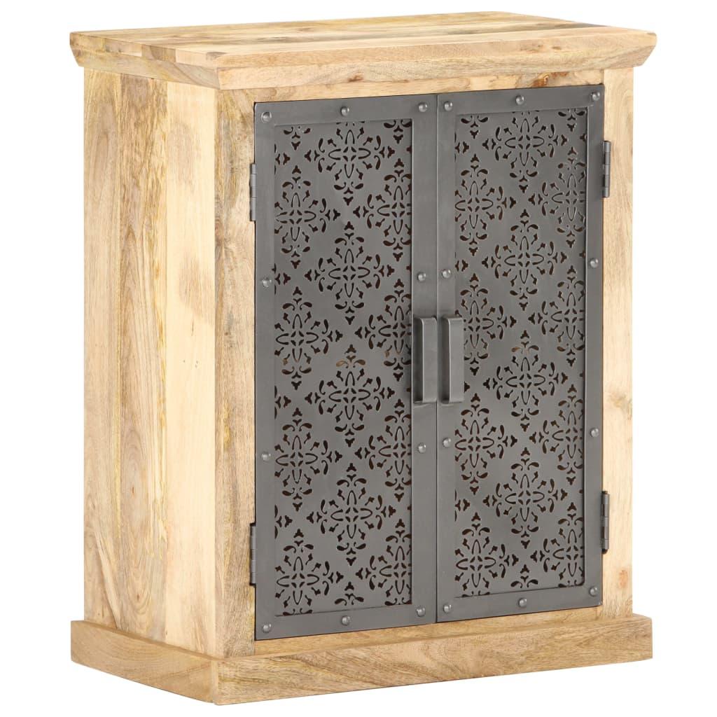vidaXL Servantă cu uși de oțel, 60 x 35 x 75 cm, lemn masiv de mango poza 2021 vidaXL