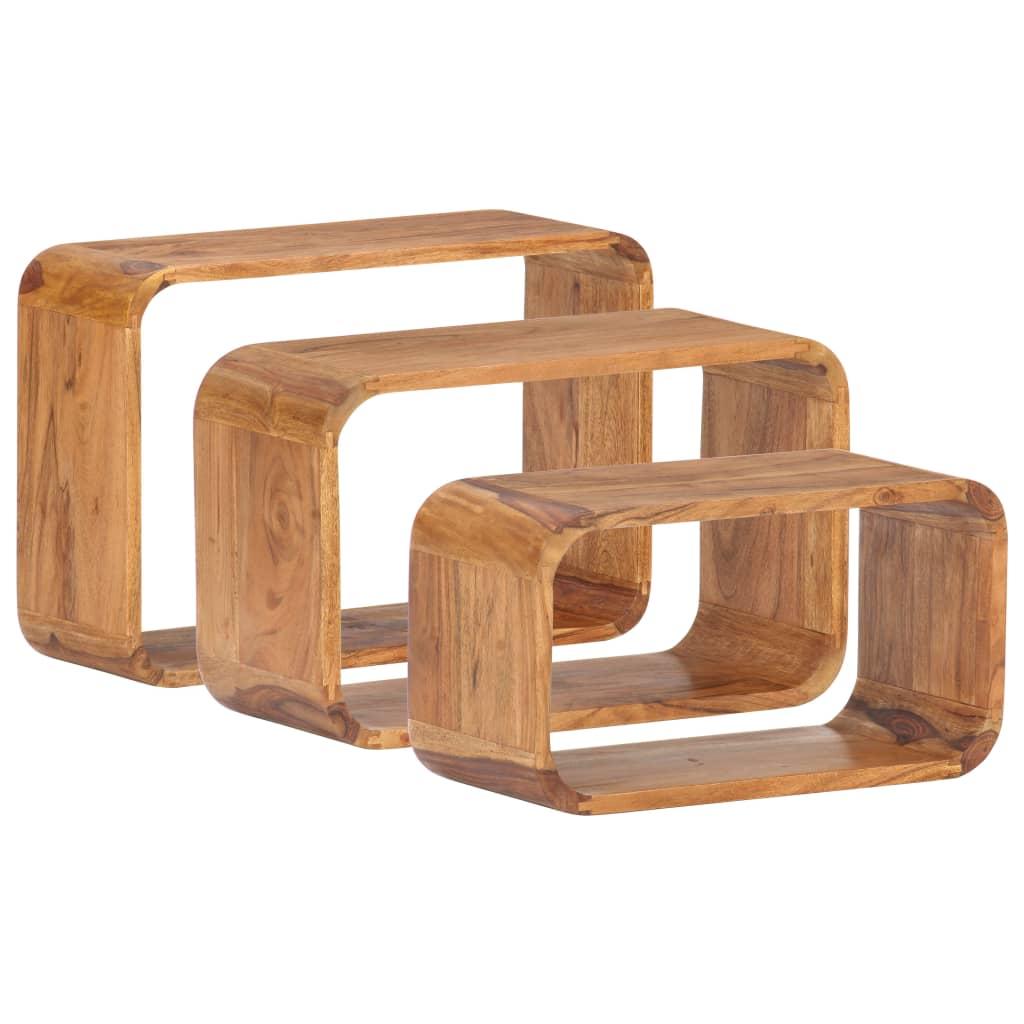 vidaXL Mese laterale, 3 buc., lemn masiv de acacia, finisaj sheesham poza 2021 vidaXL