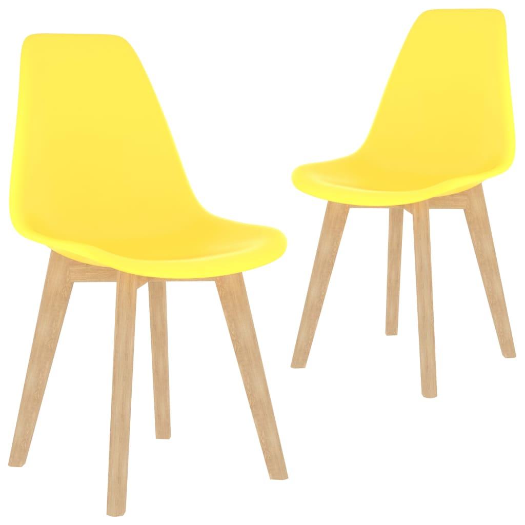 Jídelní židle 2 ks žluté plast