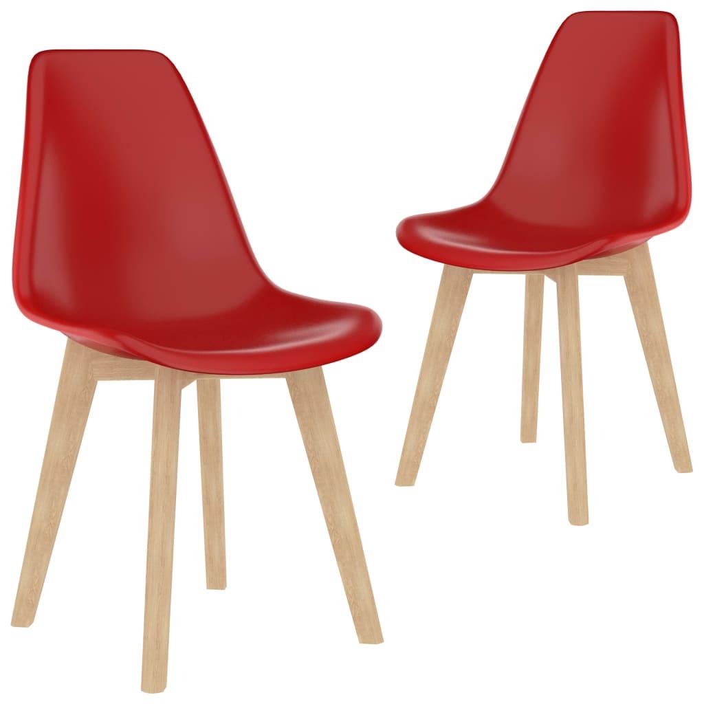 Jídelní židle 2 ks červené plast