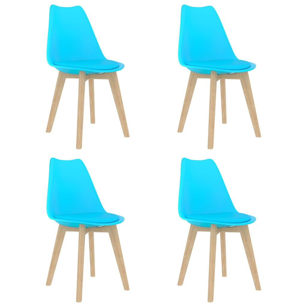 vidaXL Scaune de bucătărie, 4 buc., albastru, plastic poza 2021 vidaXL