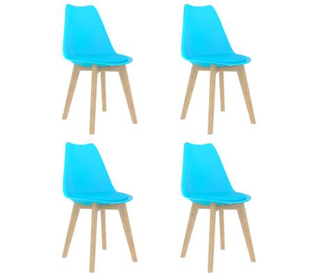 vidaXL Scaune de bucătărie, 4 buc., albastru, plastic