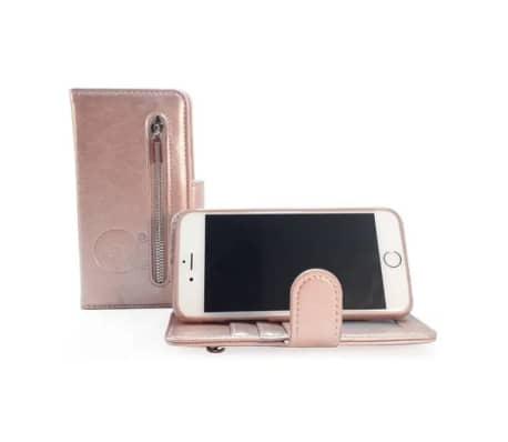 Apple iPhone XR Rose Gold Leren Rits Portemonnee Hoesje Lederen