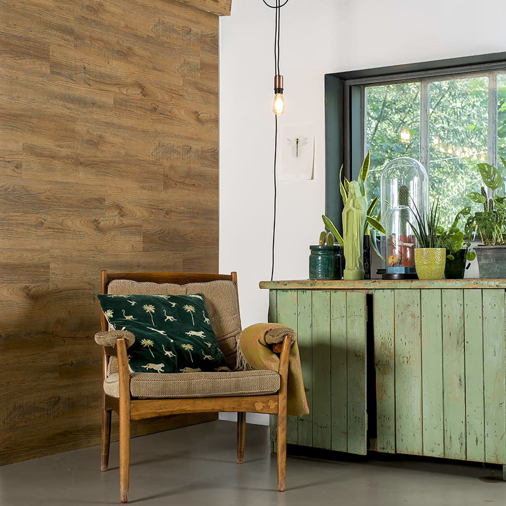 WallArt Panouri perete aspect de lemn, maro ruginiu, stejar reciclat