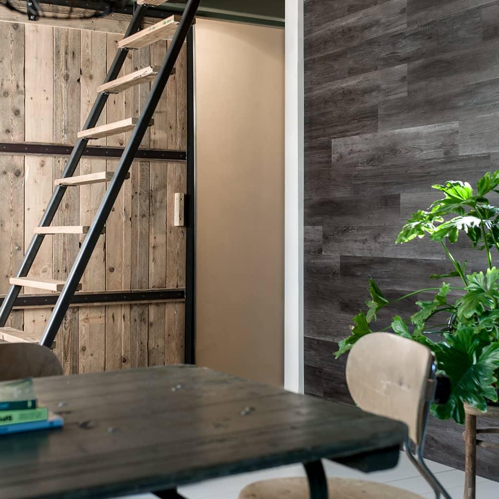 WallArt Panouri perete aspect lemn, negru cărbune, stejar tip hambar