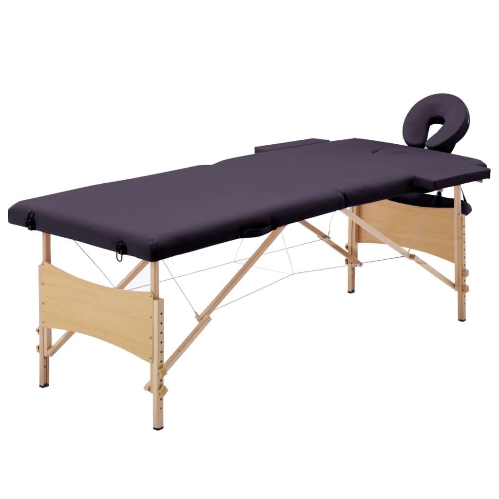Skládací masážní stůl 2 zóny dřevěný nachový