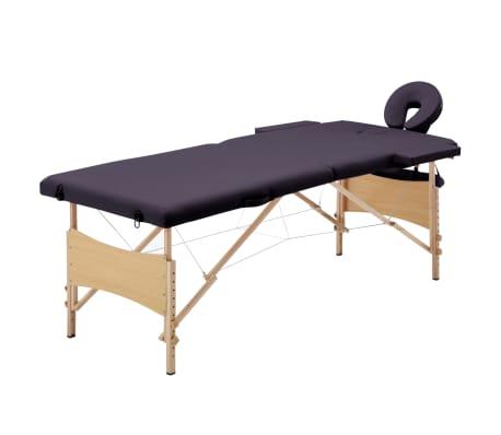 vidaXL Hopfällbar massagebänk 2 sektioner trä lila