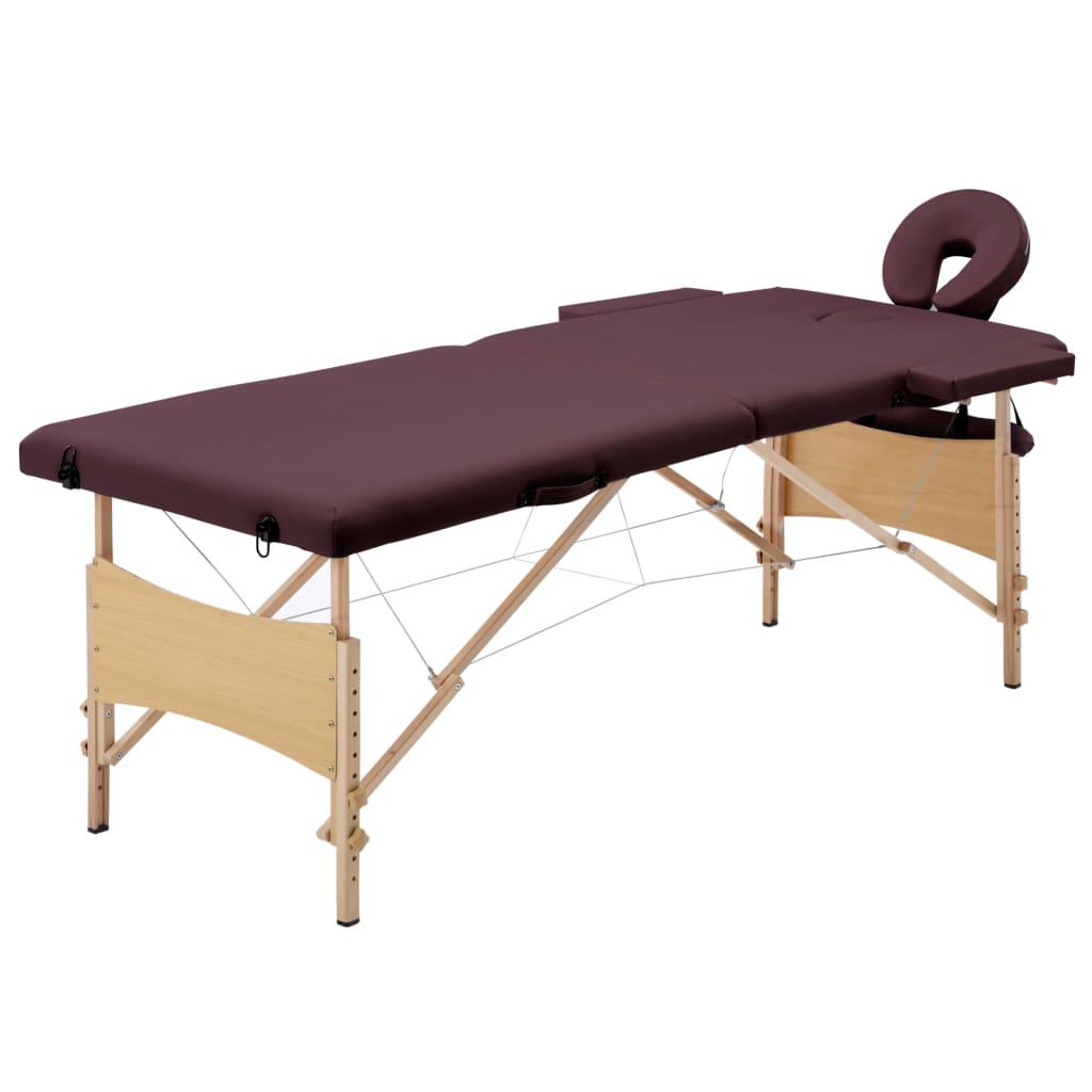 vidaXL Masă de masaj pliabilă, 2 zone, violet vin, lemn vidaxl.ro