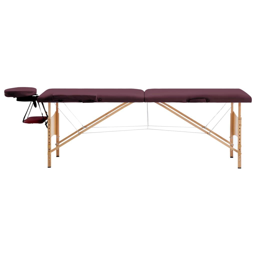vidaXL Skládací masážní stůl 2 zóny dřevěný vínově fialový