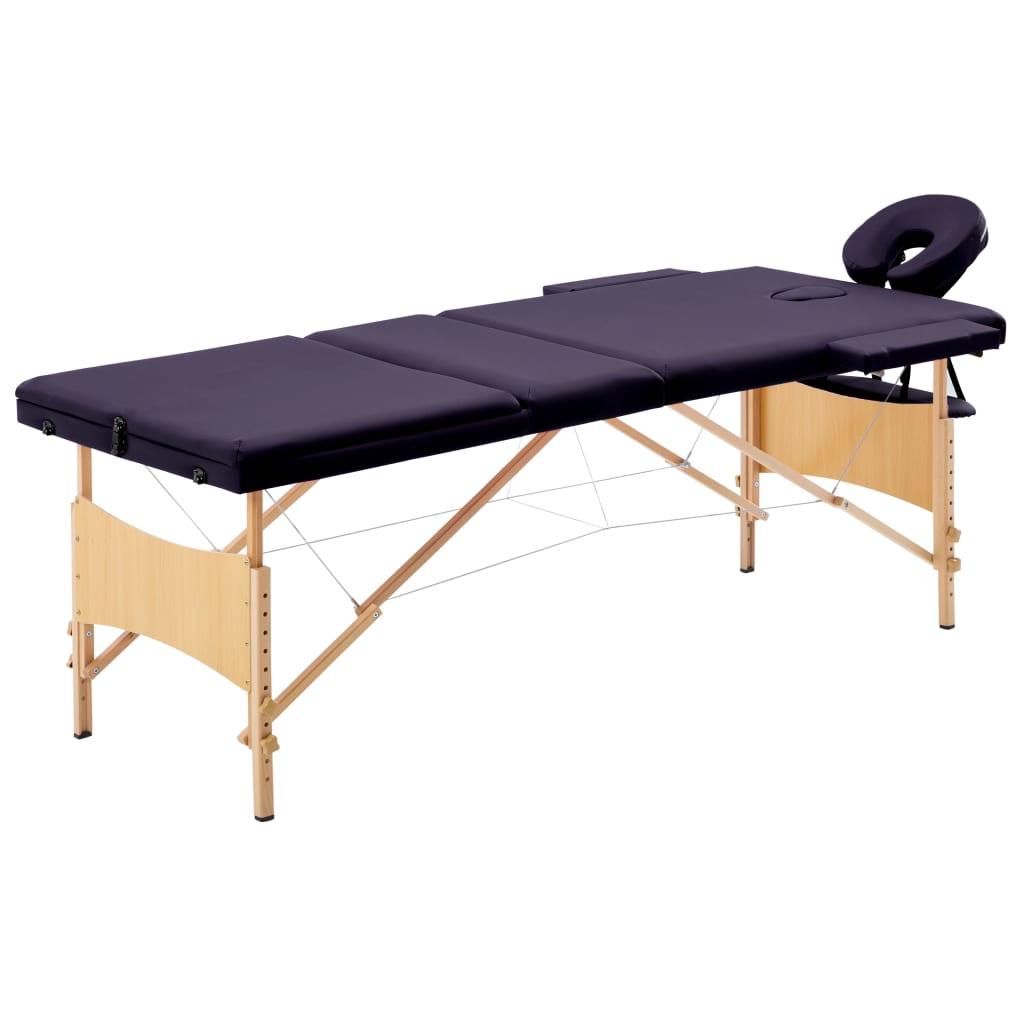 Skládací masážní stůl 3 zóny dřevěný nachový