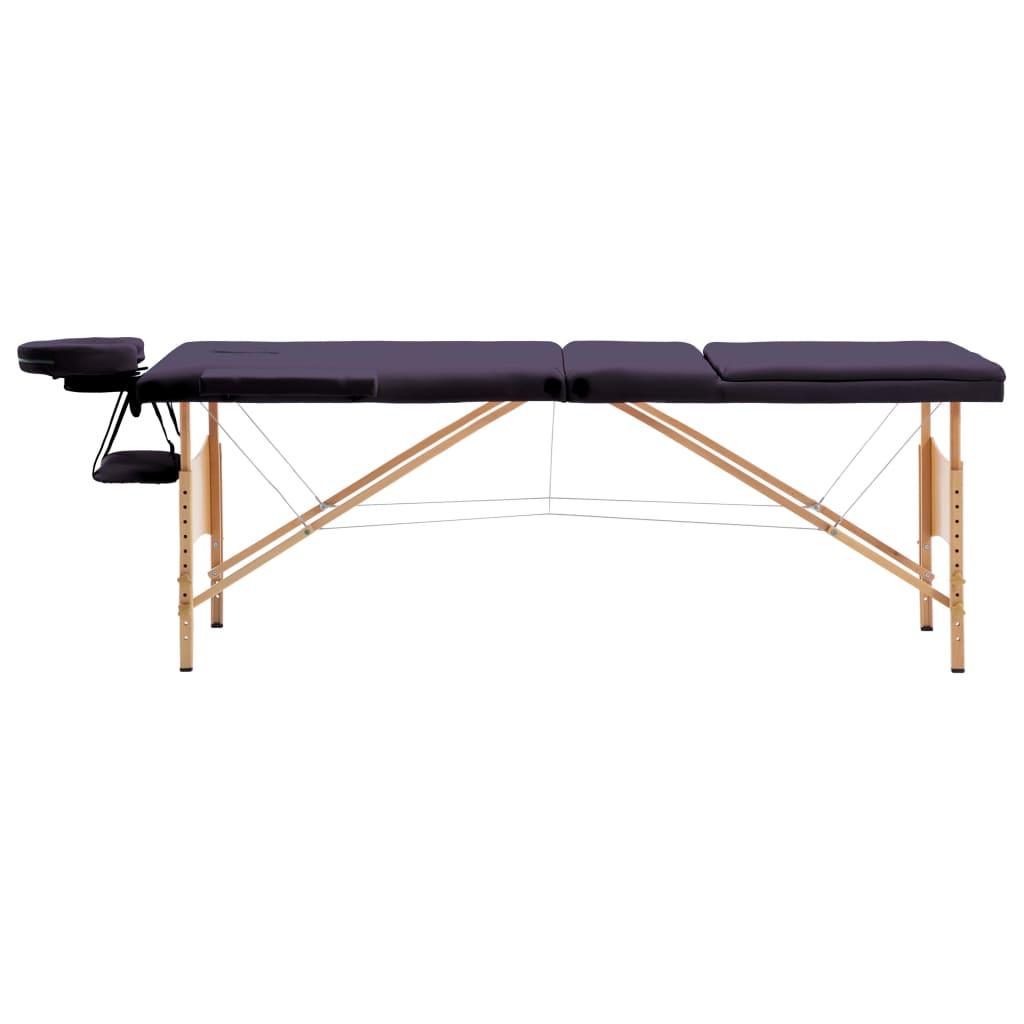 vidaXL Skládací masážní stůl 3 zóny dřevěný nachový