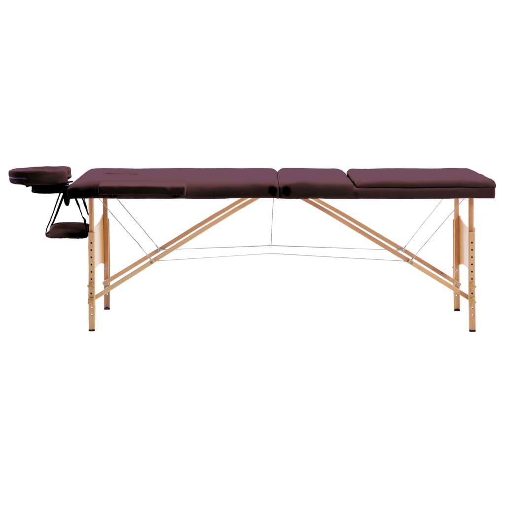 vidaXL Skládací masážní stůl 3 zóny dřevo vínově fialový