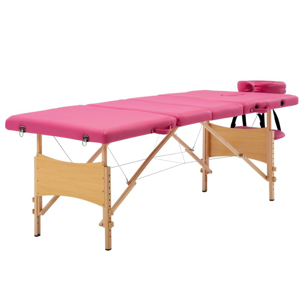 vidaXL Masă de masaj pliabilă, 4 zone, roz, lemn vidaxl.ro