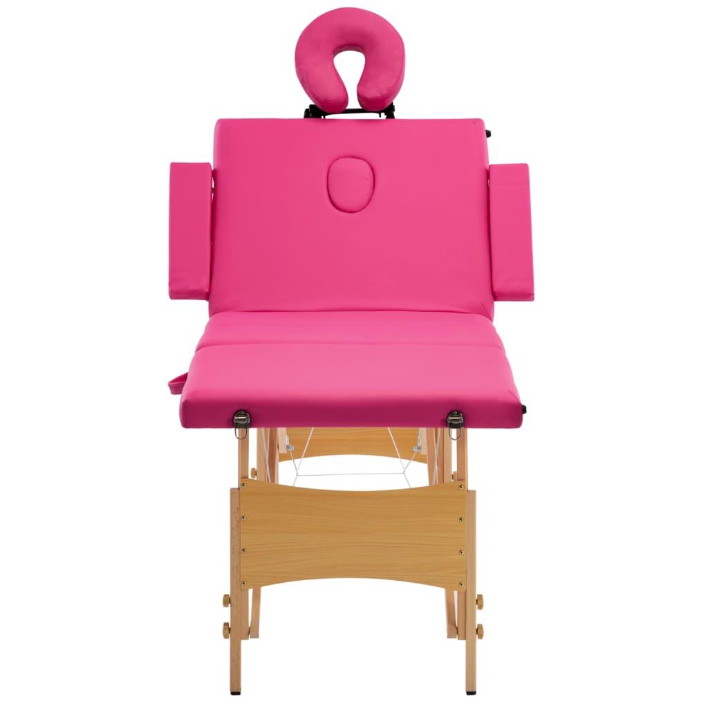 vidaXL Skládací masážní stůl 4 zóny dřevěný růžový