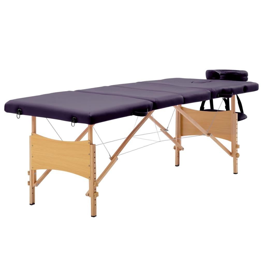 vidaXL Masă pliabilă de masaj, 4 zone, violet, lemn vidaxl.ro
