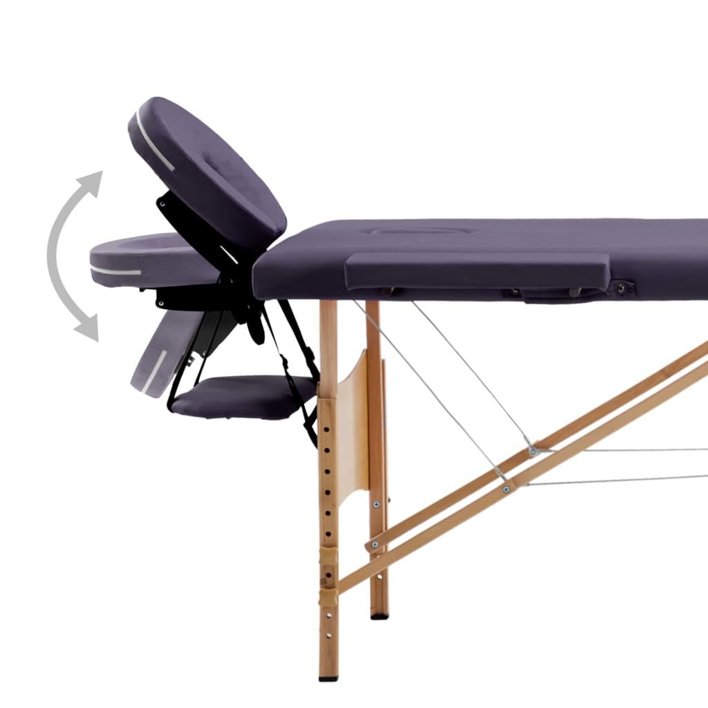 vidaXL Sklopivi masažni stol s 4 zone drveni ljubičasti
