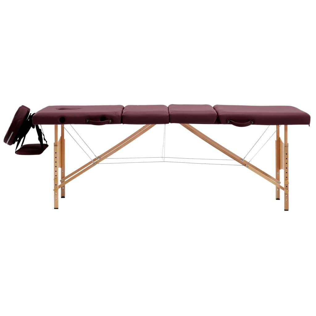 vidaXL Skládací masážní stůl 4 zóny dřevěný vínově fialový