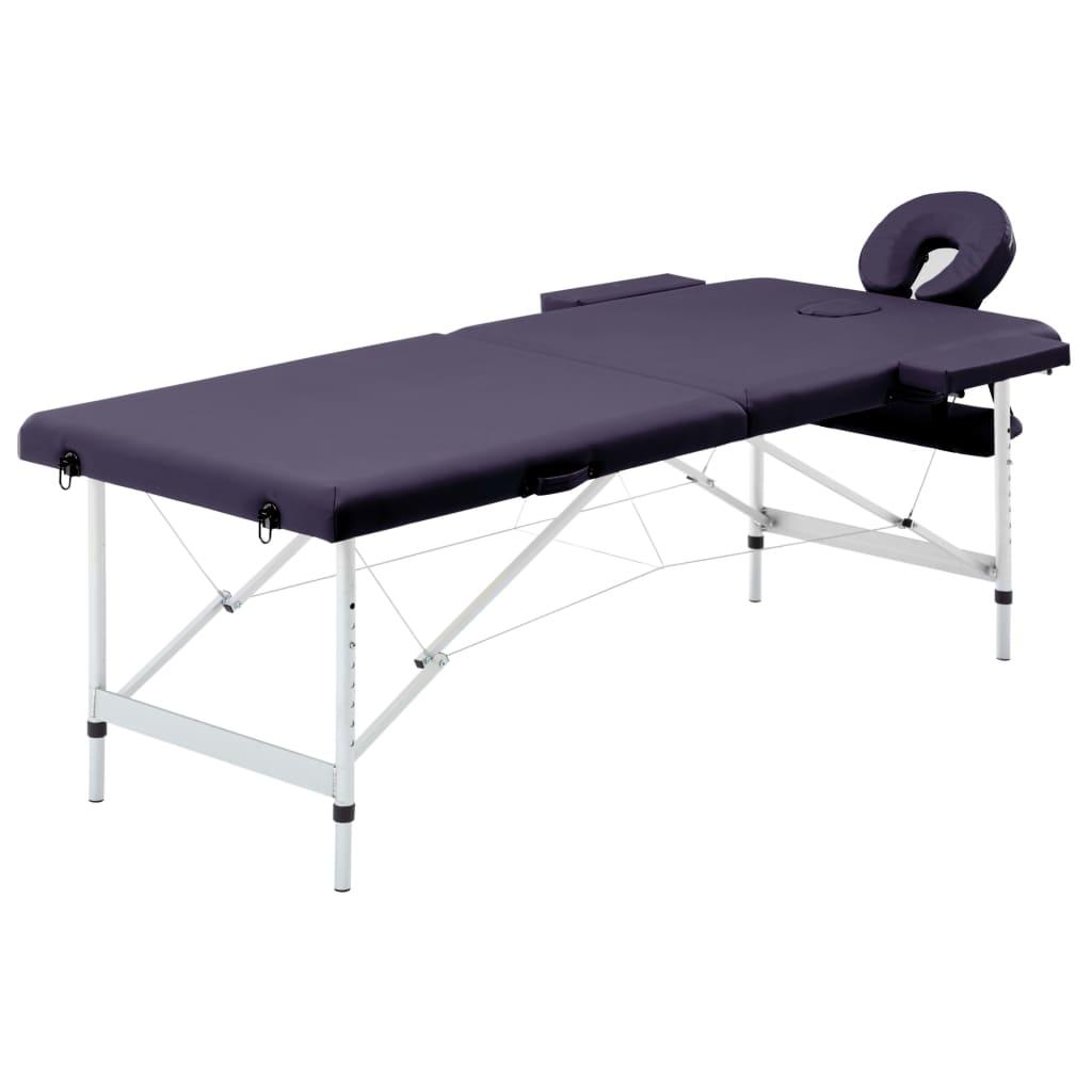 vidaXL Masă de masaj pliabilă, 2 zone, violet, aluminiu vidaxl.ro
