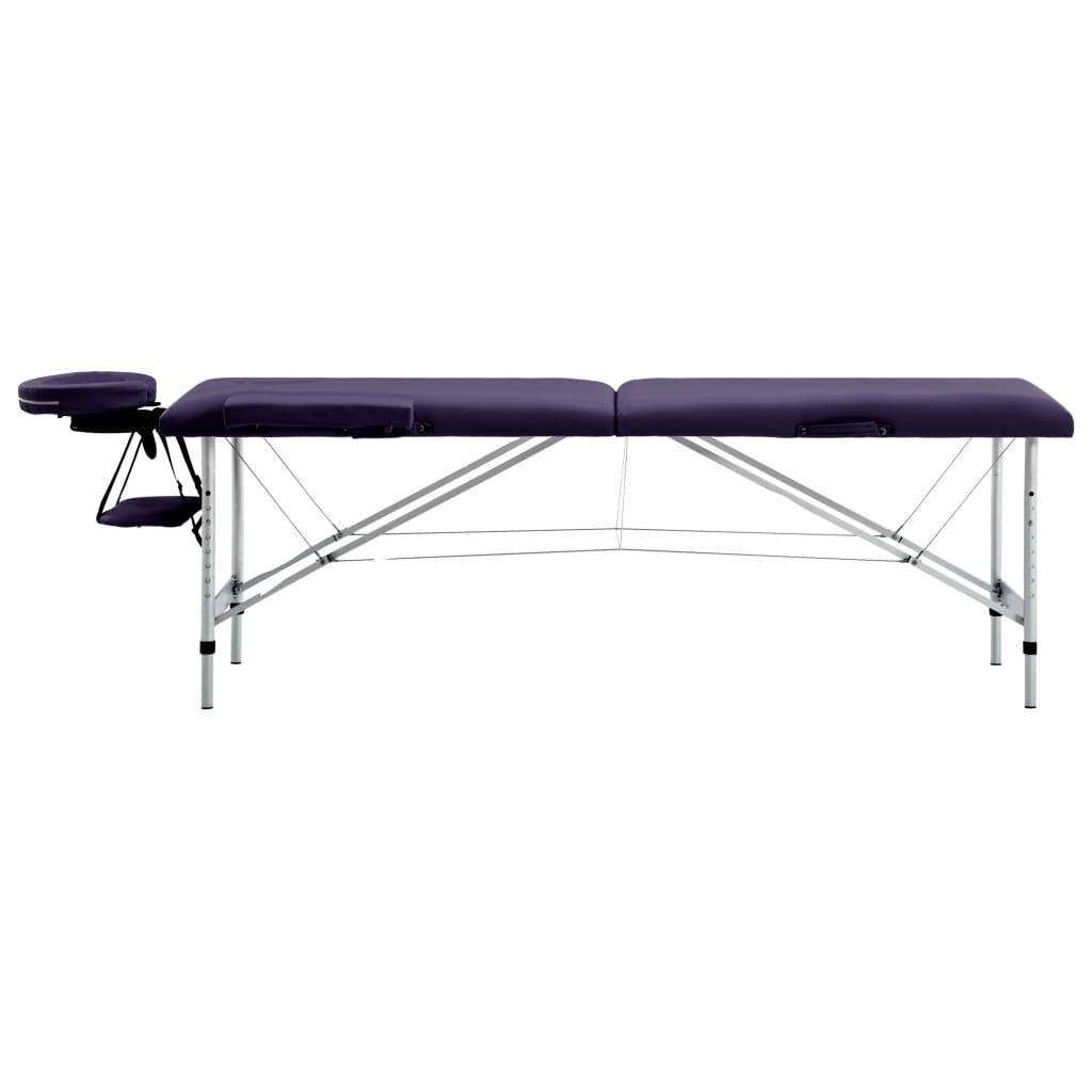 vidaXL Skládací masážní stůl 2 zóny hliník nachový