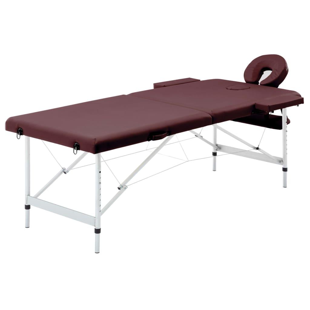 vidaXL Masă de masaj pliabilă, 2 zone, violet vin, aluminiu vidaxl.ro