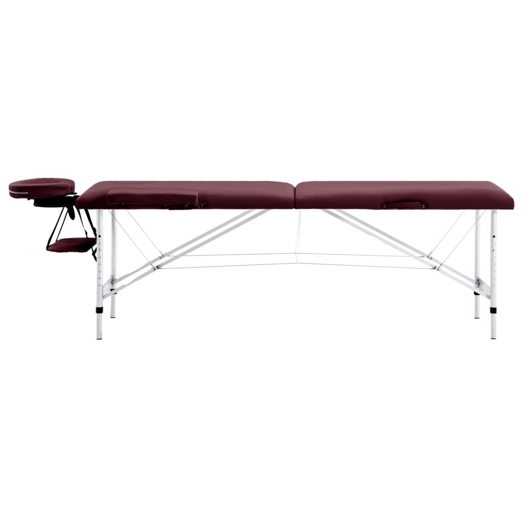 vidaXL Skládací masážní stůl 2 zóny hliník vínově fialový