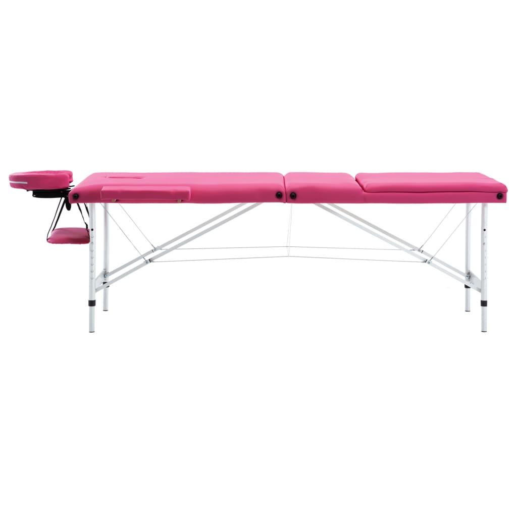 vidaXL Skládací masážní stůl 3 zóny hliník růžový