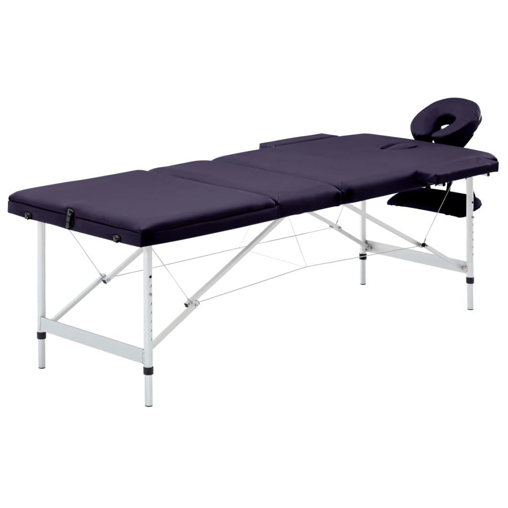 Skládací masážní stůl 3 zóny hliník nachový