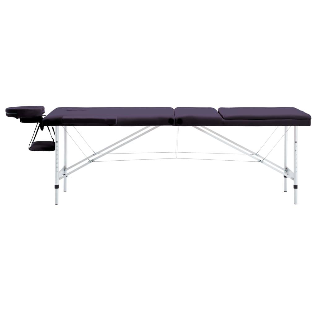 vidaXL Skládací masážní stůl 3 zóny hliník nachový