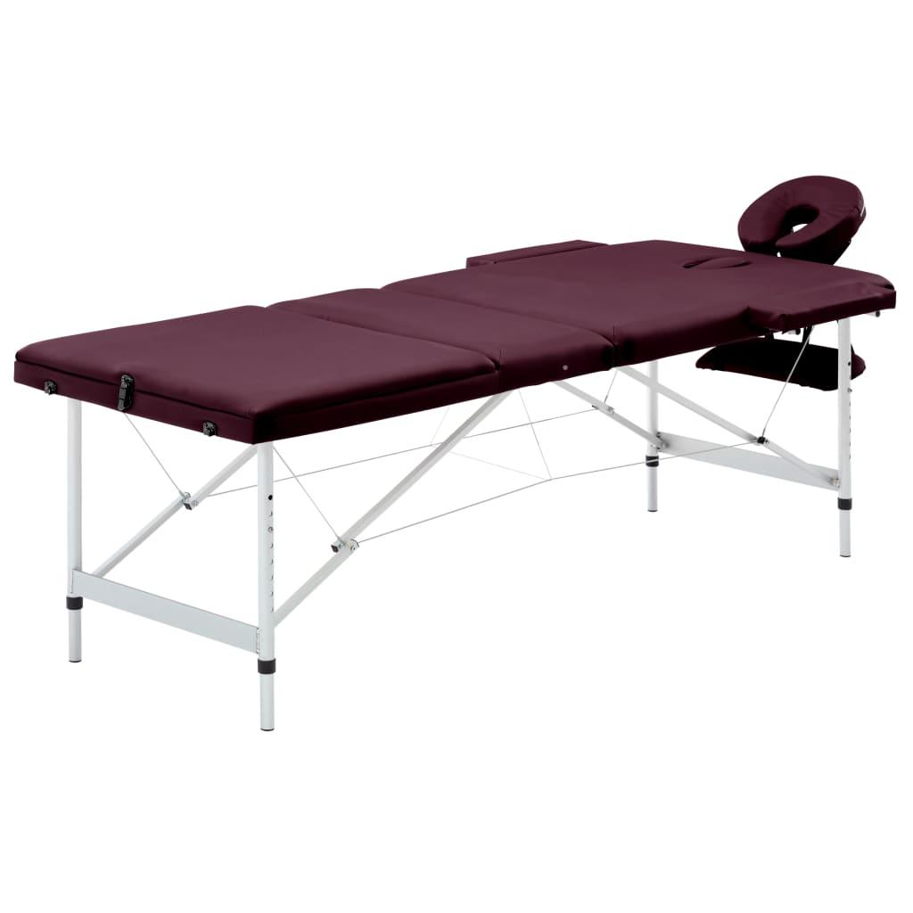vidaXL Masă de masaj pliabilă cu 3 zone, violet vin, aluminiu vidaxl.ro