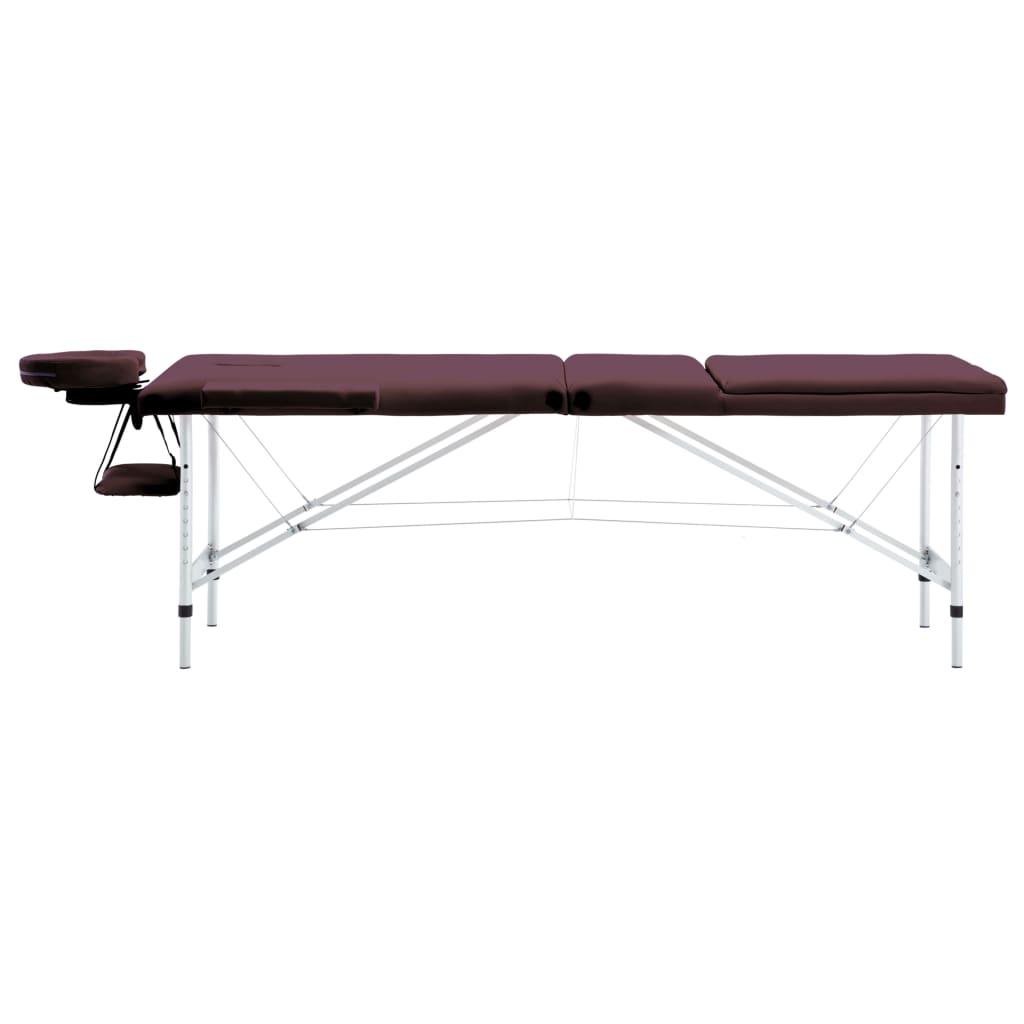 vidaXL Skládací masážní stůl 3 zóny hliník vínově fialový