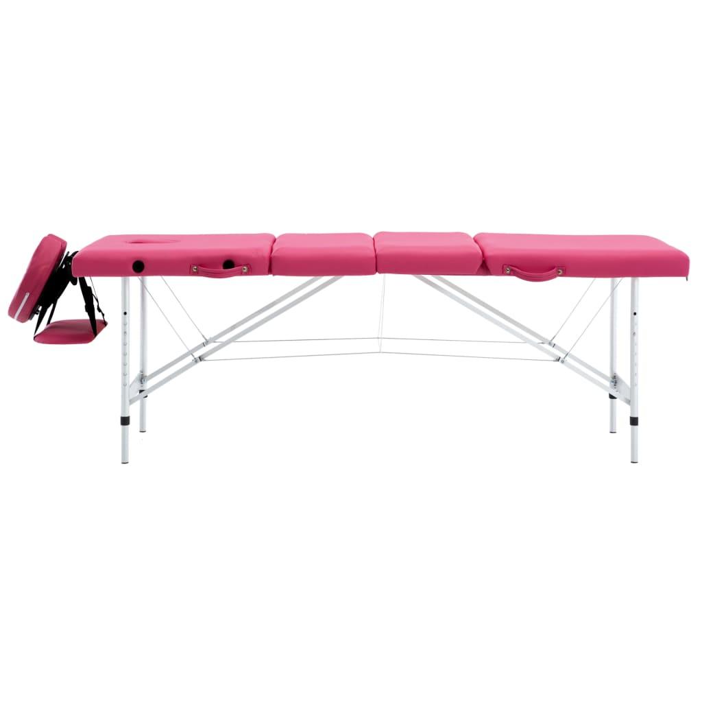 vidaXL Skládací masážní stůl 4 zóny hliník růžový