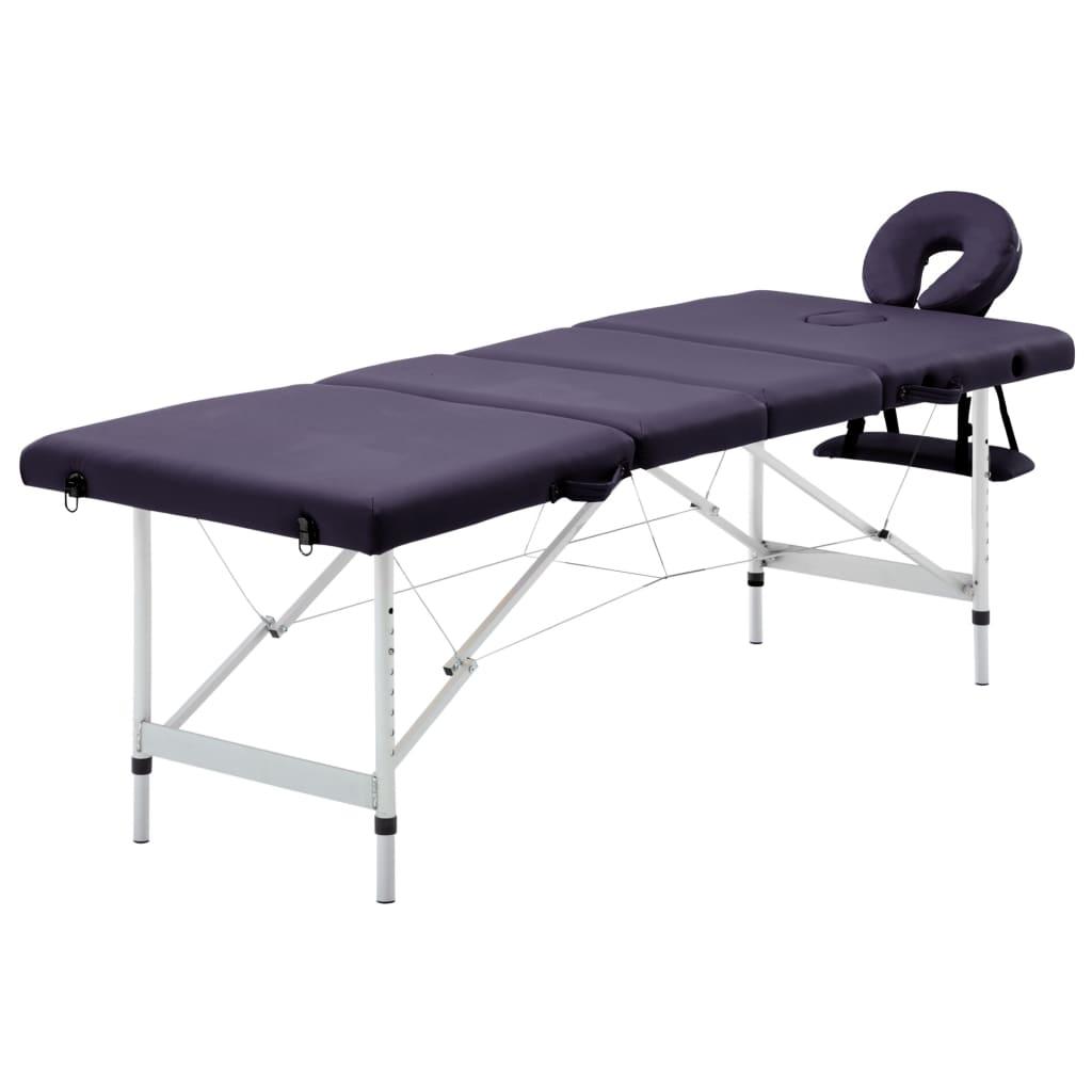 Skládací masážní stůl 4 zóny hliník fialový