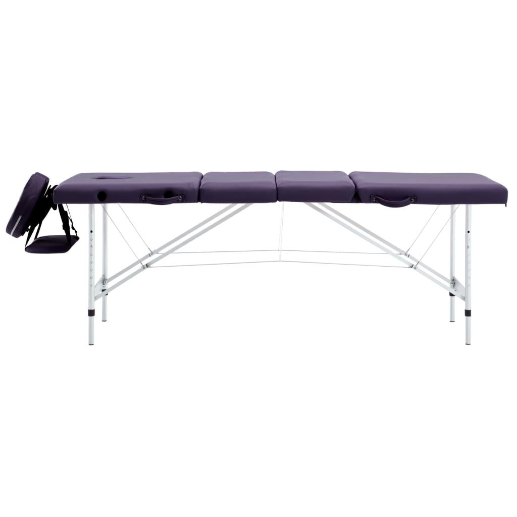 vidaXL Skládací masážní stůl 4 zóny hliník fialový