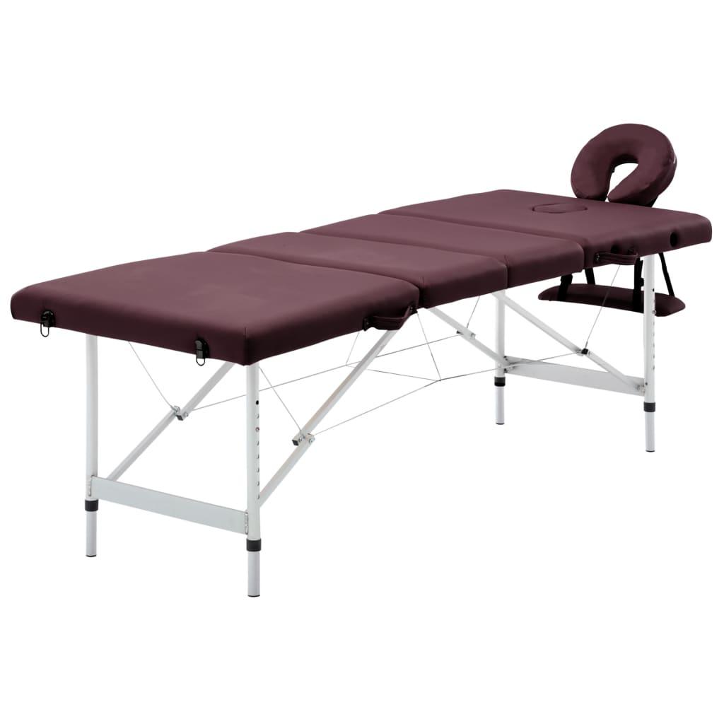 vidaXL Masă de masaj pliabilă cu 4 zone, violet vin, aluminiu poza vidaxl.ro