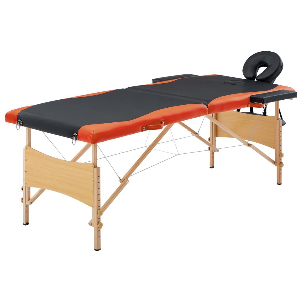 vidaXL Masă pliabilă de masaj, 2 zone, negru și portocaliu, lemn vidaxl.ro
