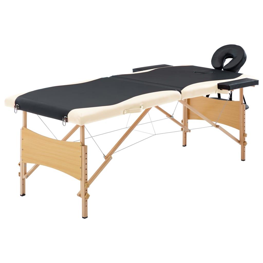 Skládací masážní stůl 2 zóny dřevěný černý a béžový
