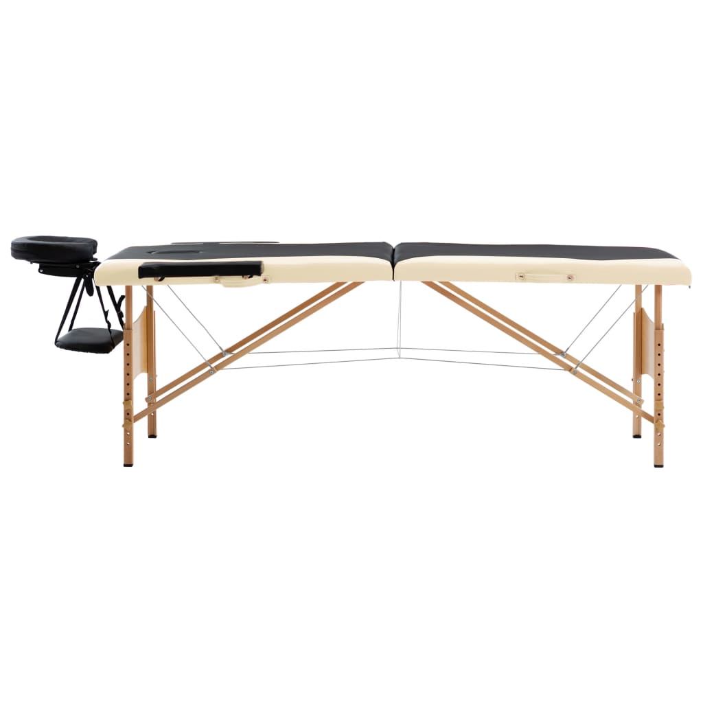 vidaXL Skládací masážní stůl 2 zóny dřevěný černý a béžový