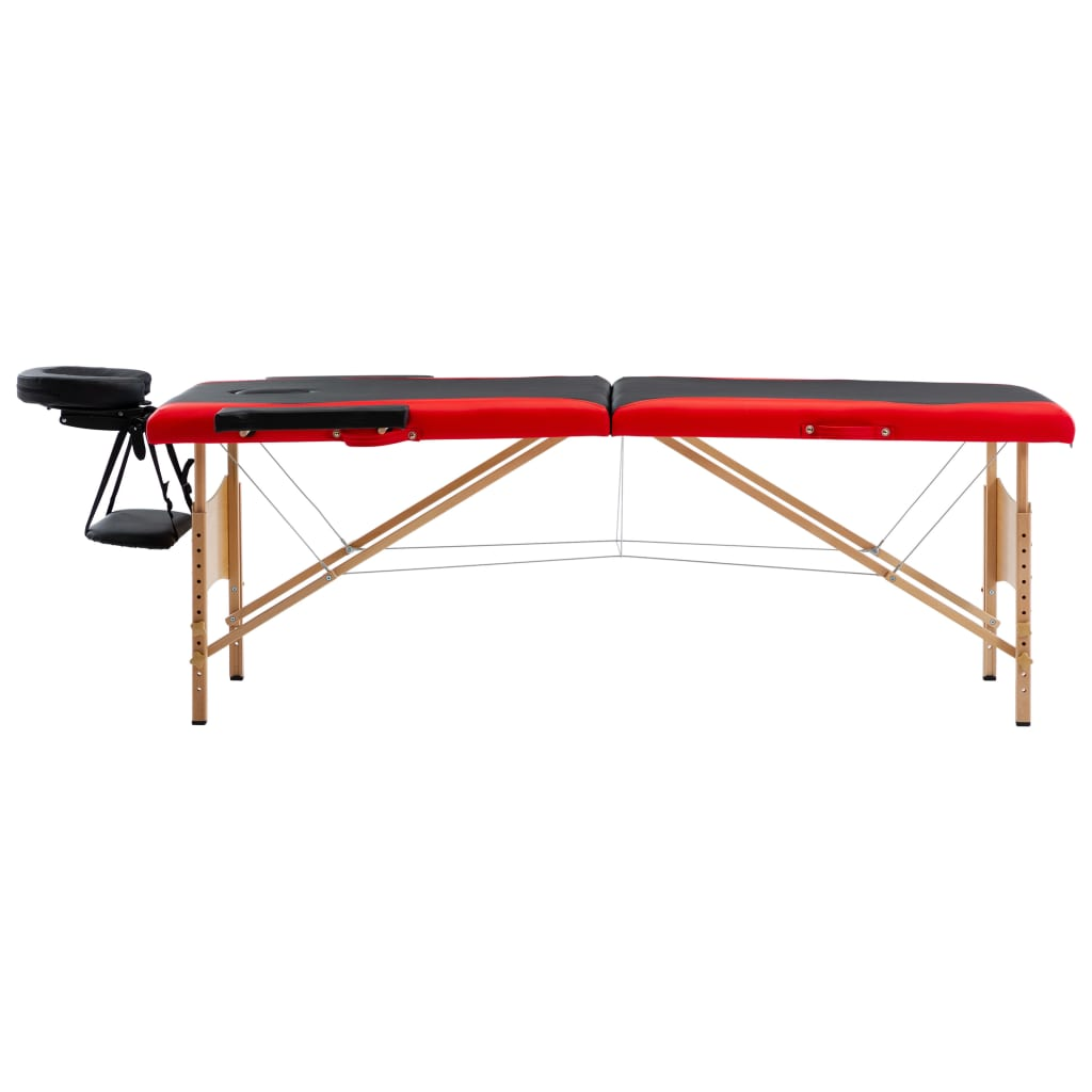 vidaXL Skládací masážní stůl 2 zóny dřevěný černý a červený