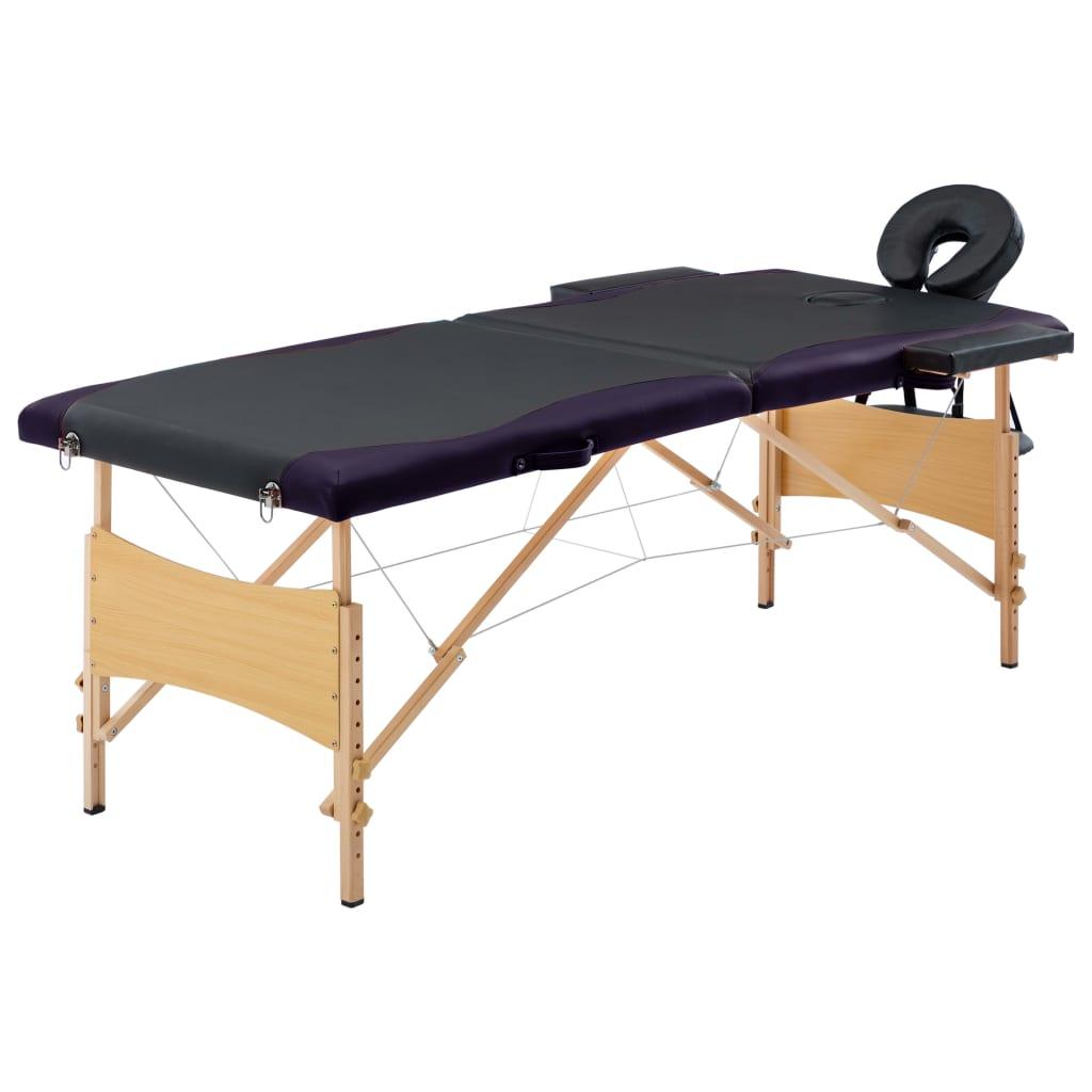 Skládací masážní stůl 2 zóny dřevěný černý