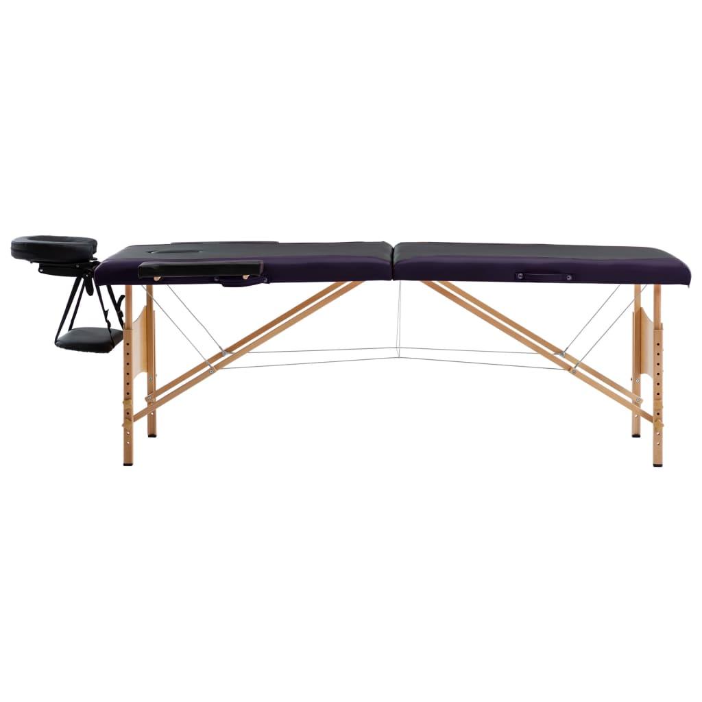 vidaXL Skládací masážní stůl 2 zóny dřevěný černý