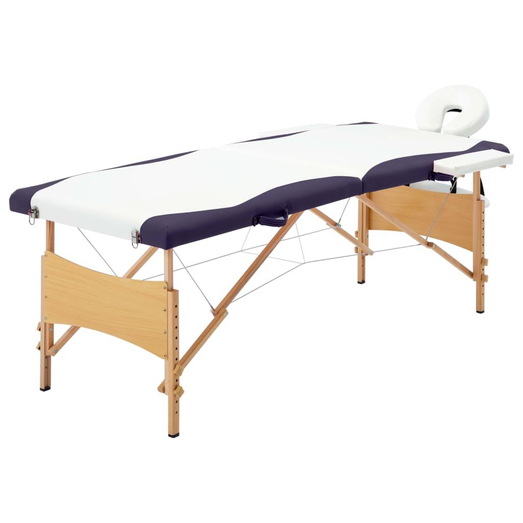 vidaXL Masă de masaj pliabilă, 2 zone, alb și violet, lemn vidaxl.ro
