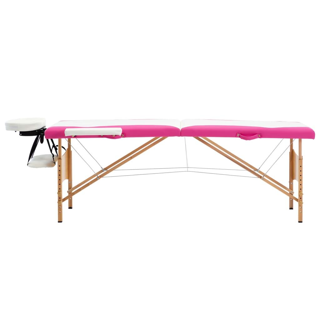 vidaXL Skládací masážní stůl 2 zóny dřevěný bílý a růžový