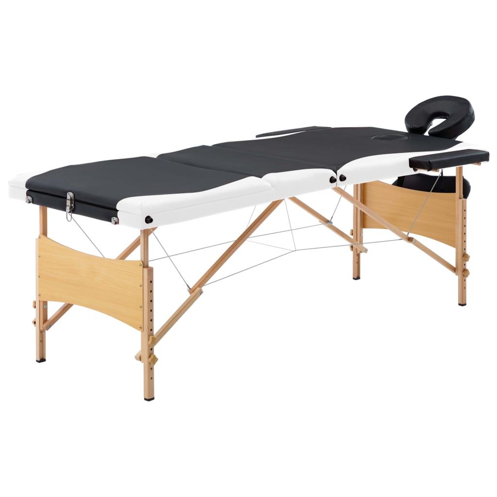 Skládací masážní stůl 3 zóny dřevěný černý a bílý