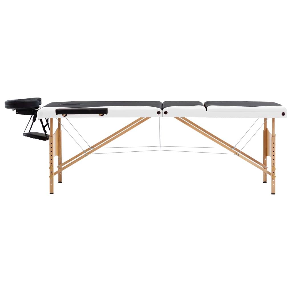 vidaXL Skládací masážní stůl 3 zóny dřevěný černý a bílý