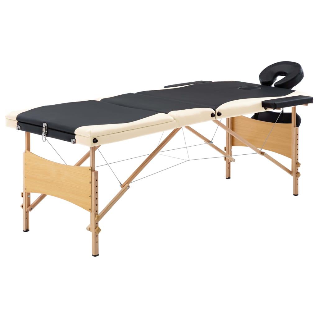 Skládací masážní stůl 3 zóny dřevěný černý a béžový