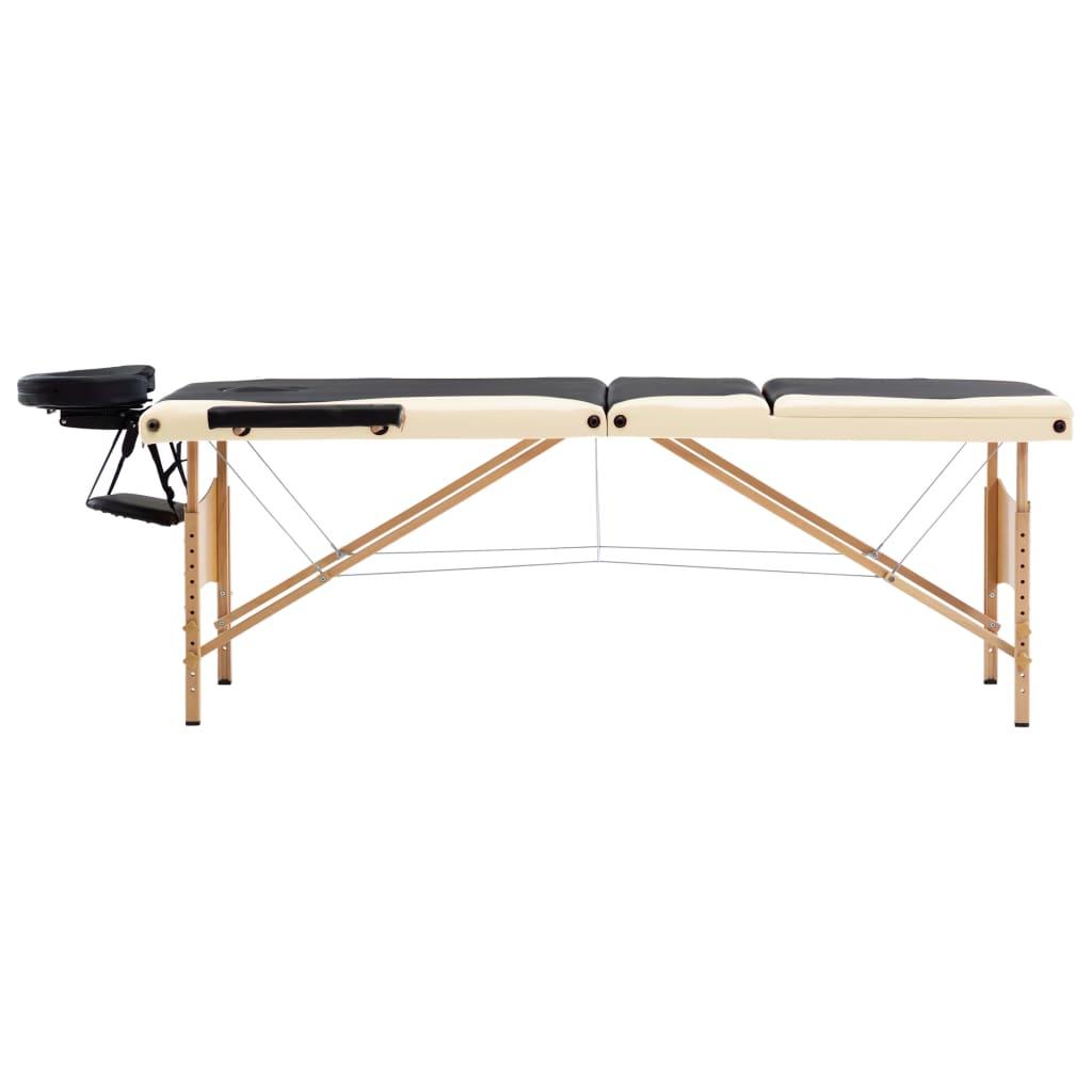 vidaXL Skládací masážní stůl 3 zóny dřevěný černý a béžový