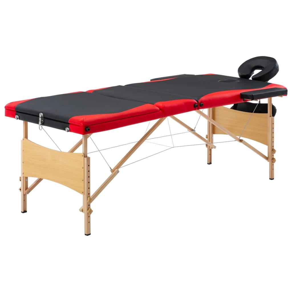 Skládací masážní stůl 3 zóny dřevěný černý a červený