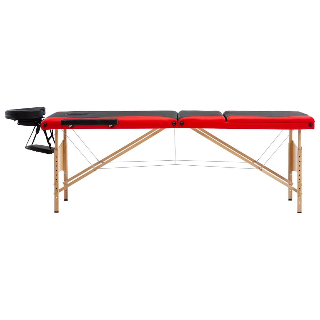 vidaXL Skládací masážní stůl 3 zóny dřevěný černý a červený