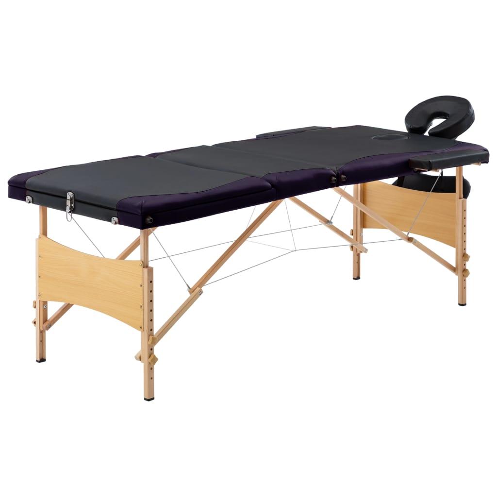 Skládací masážní stůl 3 zóny dřevěný černý a fialový