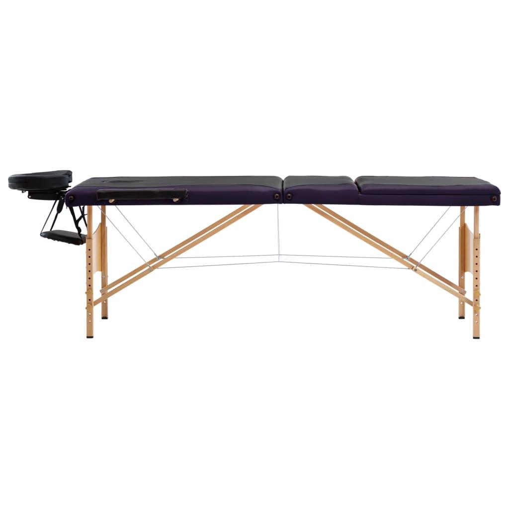 vidaXL Skládací masážní stůl 3 zóny dřevěný černý a fialový